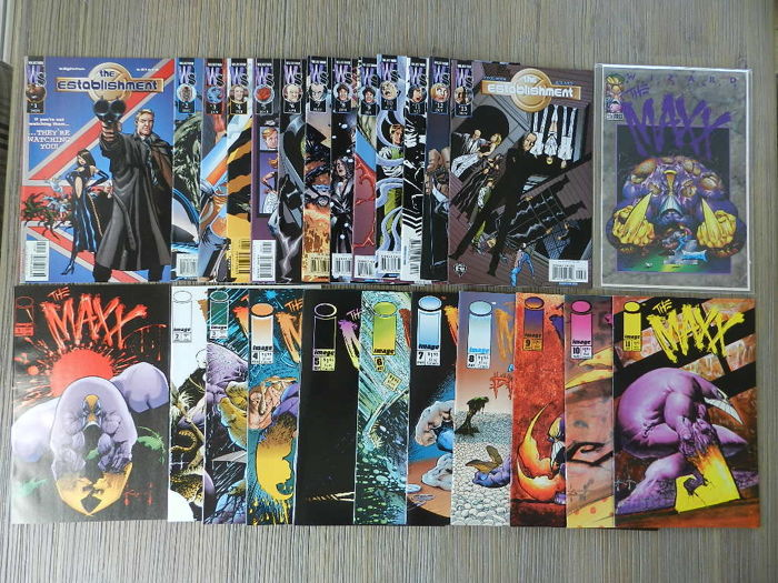 Collection Of Image Comics - Including The Establishment (Charlie Adlard), The Maxx, Wetworks , Ballistic, Hellshock And Ripclaw - 103x SC -  (1993/2008)