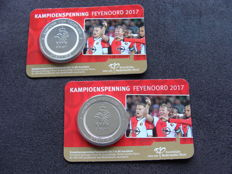"""The Netherlands - Champion's medal """"Feyenoord 2017"""" (2 pieces) in Coin cards"""