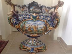 Antique decorated vase made by Gaetano Battaglia (1850-1885)