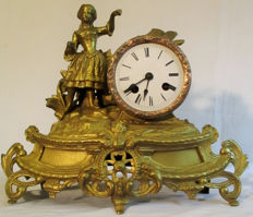 Antique figurine, fireplace clock - pendule from the year 1855.