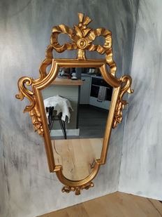 Italian Baroque mirror (84 cm) of poly resin,  approx. 1970, Italy