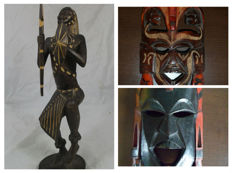 Masai - sculpture of a warrior + 2 masks.