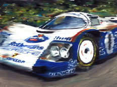 Porsche 962C Rothmans Le Mans Winner 1987 Stuck-Bell-Holbert ORIGINAL Oil Painting on Canvas hand-made by Artist Andrea Del Pesco + COA.