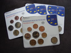Germany, year pack 2014 A, D, F, G, J, including 5x 2 Euro Niedersachsen