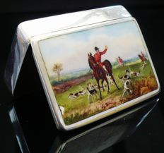 Silver & Enamel Snuff Box with Match Striker, Birmingham 1890, Howard James