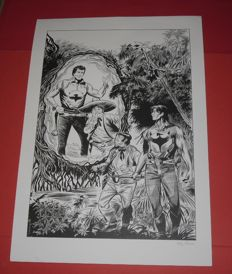 Zagor - lithograph with 4 postage stamps and a first day stamp
