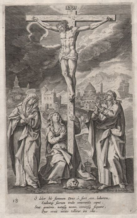 Pieter de Jode I ( 1573 - 1634)  - - Christ on the cross - Ca.1585