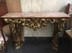 Gilded carved console with marble top, half 20th century