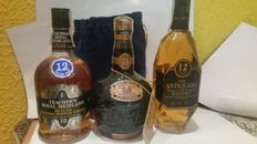 3 bottles - Chivas Royal Salute 21 years old, Antiquary 12 years old & Teacher's 12 years old