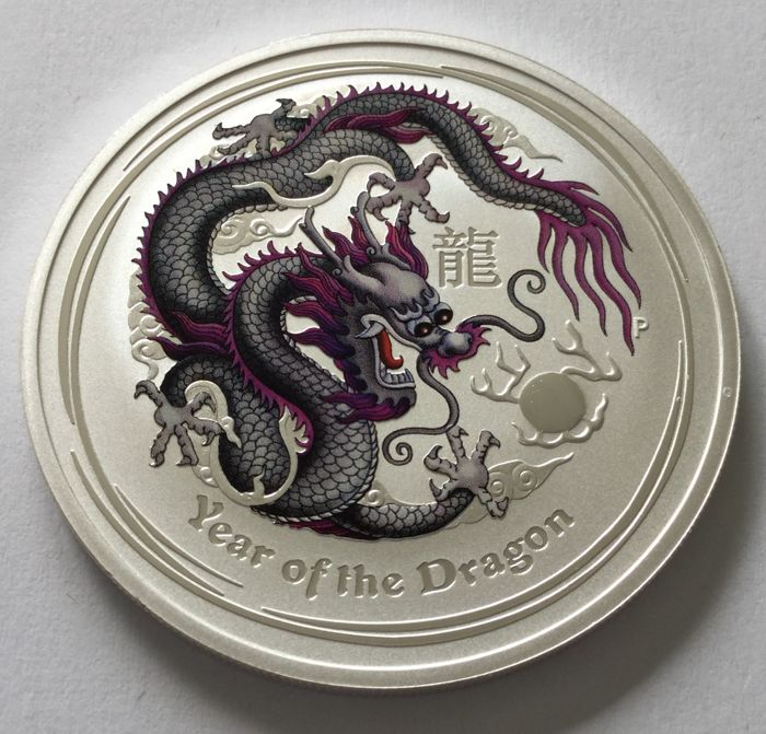 Australia - 1 Dollar 2012 'Year of the Dragon' coloured - 1 oz silver