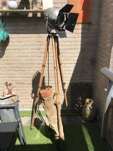 Strand Electric – Theatre lamp – on an old wooden army tripod, with bag!