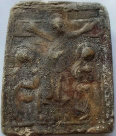 Old small early Christian relief tuff sculpture, represents the crucified Christ - 61 mm x 46 mm
