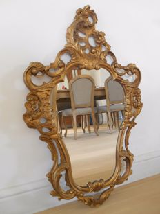 French crested mirror in a gold plated frame