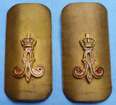 Superb Quality Late-19th Century Belgian Army Officer's Shoulder Boards - Gilt Enamel