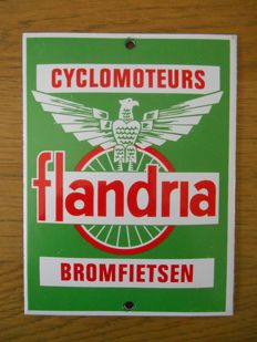 Enamel door sign for Flandria cyclomoteurs/mopeds from 1980