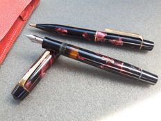 Faber Castell Osmia Duo-set - Nr. 52 fountain pen and 159 mechanical pencil - 1940's - in red leather cover