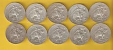 "Portugal – Lot of 10 coins – 10 Escudos face value – 1928 nicknamed ""o cavalinho"" (the little horse) – silver"