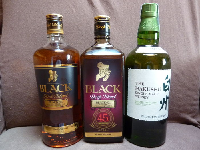 3 bottles - Japanese Whisky - Nikka Black Rich Blend   0,7l  + Nikka Black Deep Blend   0,7l + Yamazaki Distiller´s Reserve 0,7l