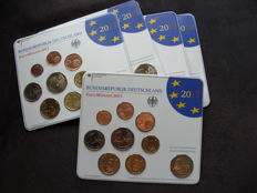 Germany - year pack 2013 A, D, F, G, J, including 5x 2 Euro Elysée and Maulbronn