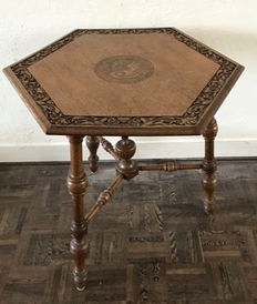 Hexagonal oak side table, first half 20th century