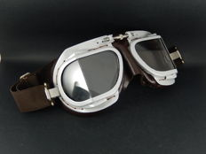 Vintage Original Halcyon MK9 Service Grey and Brown Retro Racing Car and Motorcycle Goggles
