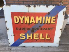 Shell Dynamine enamel advertising sign 1930s