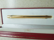 Yellow and White Gold Cartier Must Ballpoint Pen with Its Case
