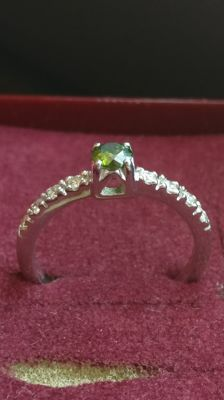 19.2 kt white gold ring, with a 0.31 ct solitaire round green fancy diamond and 8 side diamonds with a combined 0.20 ct,