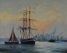 David Short (1940-) - A sailing vessel at anchor in a harbour at dusk.