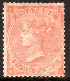 Great Britain 1863 Queen Victoria - 4d Bright Red Plate 4 - Stanley Gibbons 81
