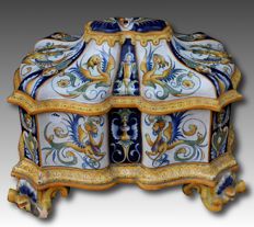 Polychrome majolica centrepiece with allegorical scenes