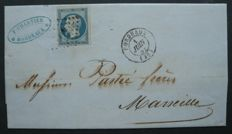 1853 France – 25c blue signed Calves with digital signature Calves and Jacquard – Yvert no. 15 – Cancelled on the letter with date stamp