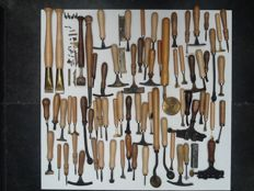 Book objects; Large collection of 96 bookbinding tools - 20th century