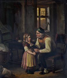 Unknown (19th century) - The old man reads to his granddaughter