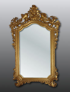 Pure gold large mirror - Lucca, Italy - 19th century.