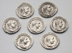 Roman Empire - Lot of 7 Gordianus III denarii in silver. Military Anarchy Period (235 to 284 BC).