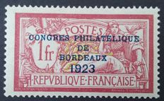 France 1923 – Philatelic Congress of Bordeaux – Yvert no. 182