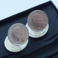 Cufflinks made of Dutch silver coins from 1941 and 1944
