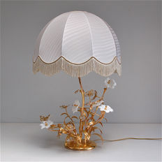 Floral, gold coloured table lamp by unknown maker