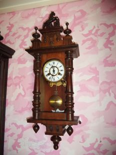 Walnut regulateur with horse - FMS movement - Germany - approx 1900