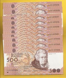 Portugal -10 x 500 29/09/1994 Escudos -Sequenced numbers - Pick 180g