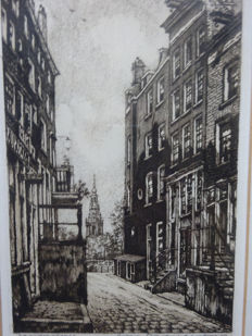 Two etchings - Amsterdam - Cornelis Brandenburg (1884 - 1954) - Paardenstraat en Grimnessesluis