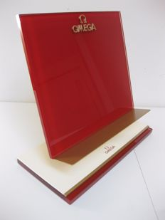 Omega catalogue holder – Glass, metal and beige leather – Condition: New