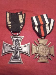 2 Medals WW1, World War 1 on a ribbon, around 1915, Iron Cross and Combatant's badge of honour