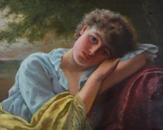 Alfred Dickman Bastin (1849-1913) - A portrait of an attractive young lady resting
