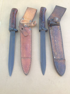 Lot Of 2 Czech AK-47 Samopal Bayonet - 2nd Model - with original leather sheath- 20th century