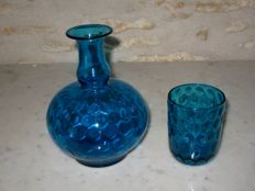 Blue night crockery - decanter with glass, France, circa 1900