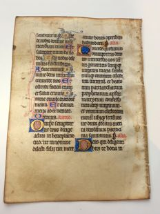 Manuscript; Illuminated handwritten leaf from a medieval book of hours - Metz / France - circa 1300