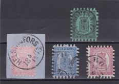 Finland 1860/1927 - a small selection with n. 5 , 7 , 9 , 10 and 75 ( Scott )