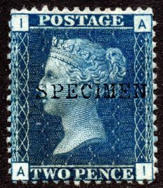 Great Britain 1876 - Queen Victoria 2d Blue Plate 15, Stanley Gibbons 46 specimen